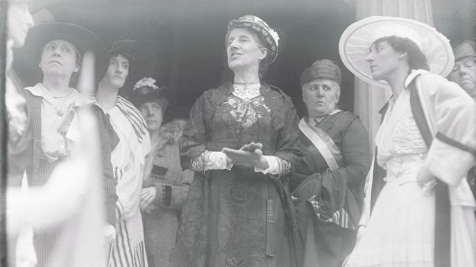 Activist Charlotte Perkins Gilman addressing a crowd, c. 1916. (Credit: Bettmann/Getty Images)