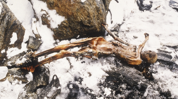 This 5,000-year-old man, dubbed Ötzi, was discovered on the Similaun mountain on the Austrian-Italian border. (Credit: Leopold Nekula/Sygma via Getty Images)