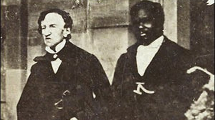 Dr James Barry (on the left) his dog, Psyche. (Credit: Public Domain)