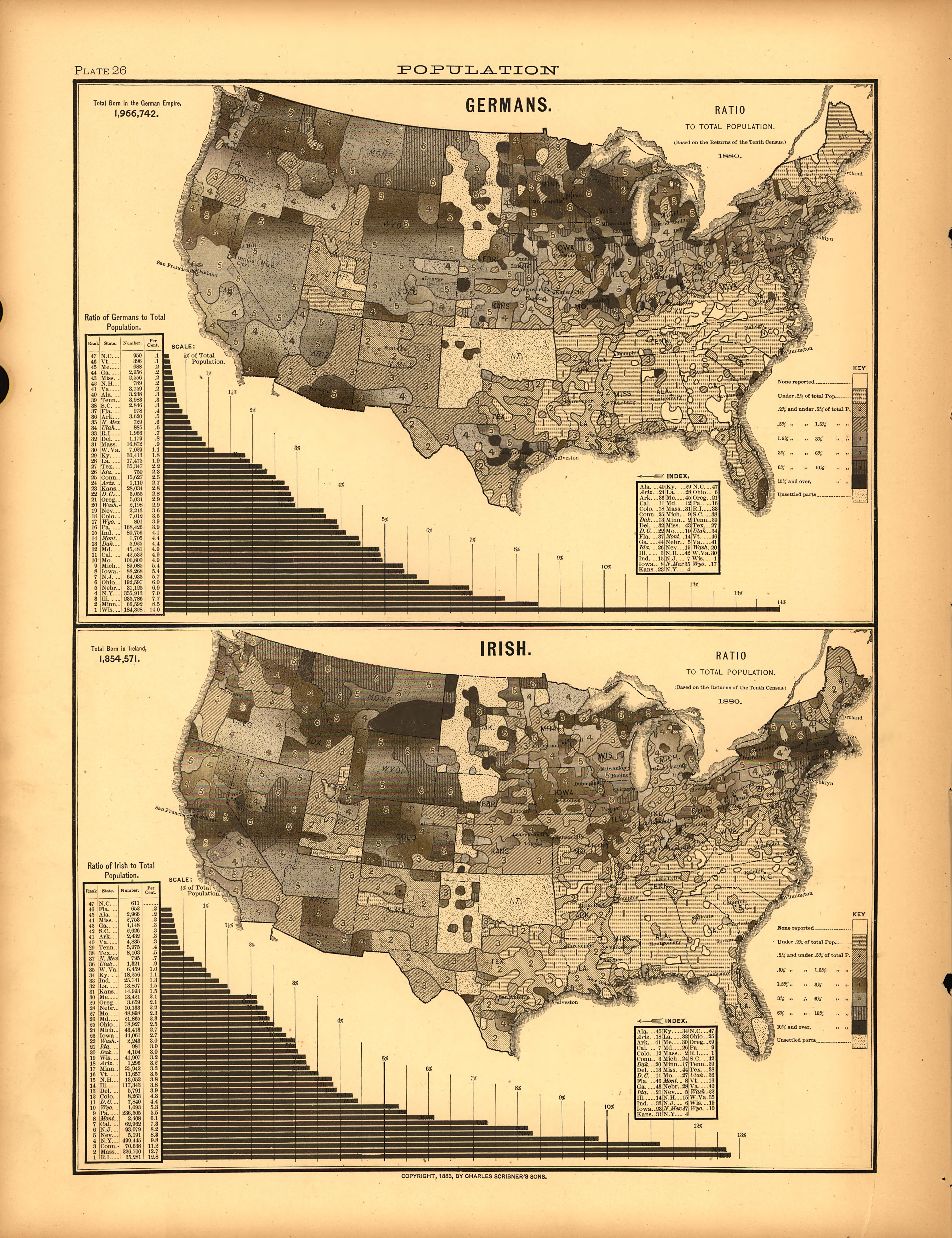 1880 map depicting increase in irish immigration to the united states