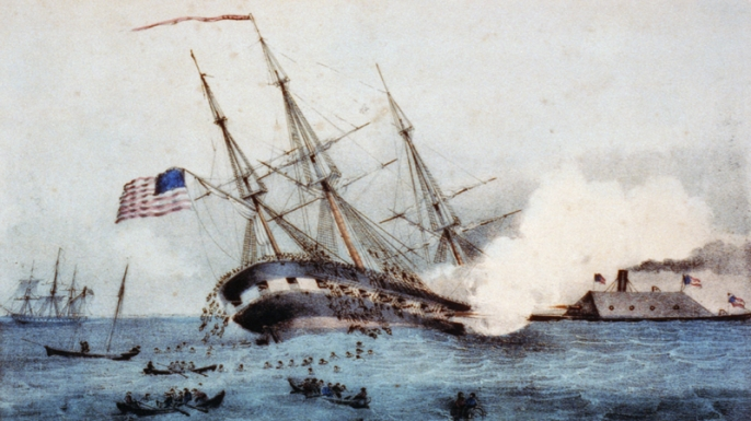 The sinking of the Cumberland by CSS Virginia.
