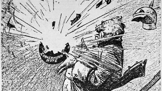 """Cartoon showing the telegram scheme """"blowing up"""" in the face of the German Kaiser."""