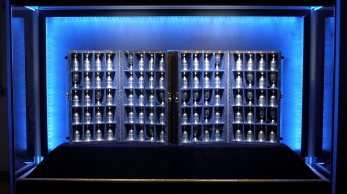 The Doolittle Raider goblets on display in the Air Power Gallery at the National Museum of the U.S. Air Force.