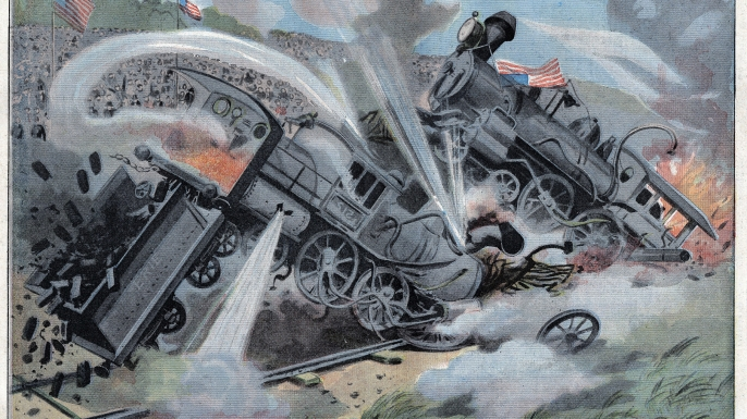 Stunt show featuring two locomotives colliding at full speed, near New york, USA. Illustration from French newspaper Le Petit Parisien. July 29, 1906. (Credit: Leemage/Getty Images)