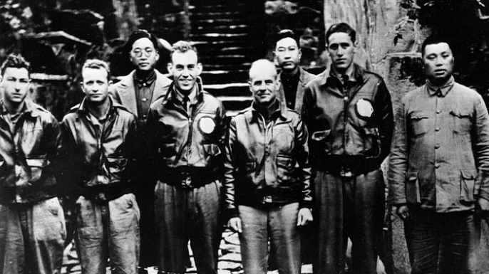 Jimmy Doolittle and his crew in China after the raid.
