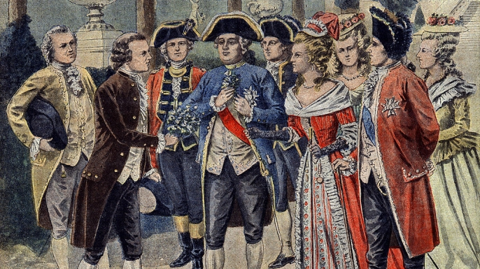 Antoine Augustin Parmentier presenting a potato plant to Louis XVI and Marie Antoinette in the gardens of Versailles. (Credit: Leemage/UIG/Getty Images)
