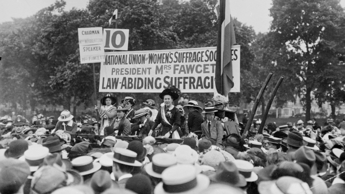 Millicent Fawcett addressing a meeting in Hyde Park as president of the National Union of Women's Suffrage Societies. (Credit: Topical Press Agency/Getty Images)