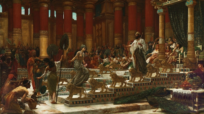 A painting depicting the visit of the Queen of Sheba to King Solomon.