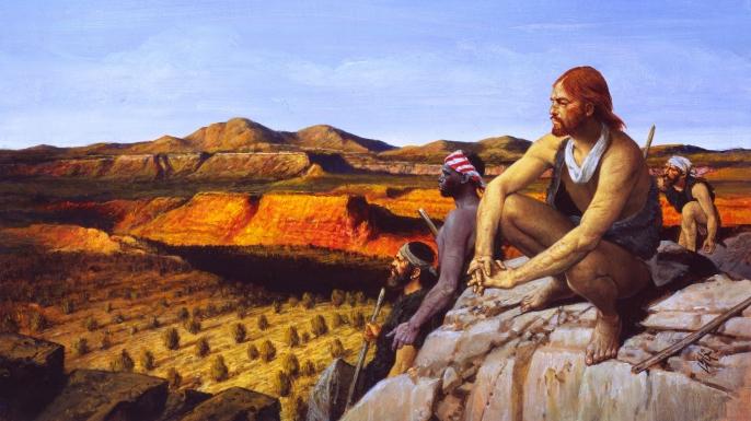 Illustration of de Cabeza de Vaca and his three companions in the West.