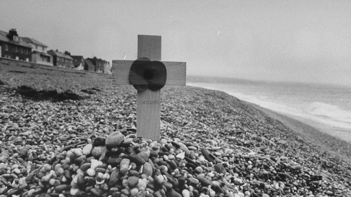Wooden cross standing on Slapton Sands honoring the dead of Exercise Tiger.