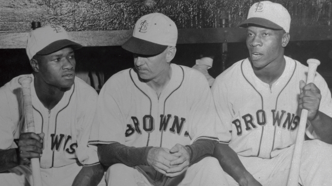 Hank Thompson and Willard Brown of the St. Louis Browns