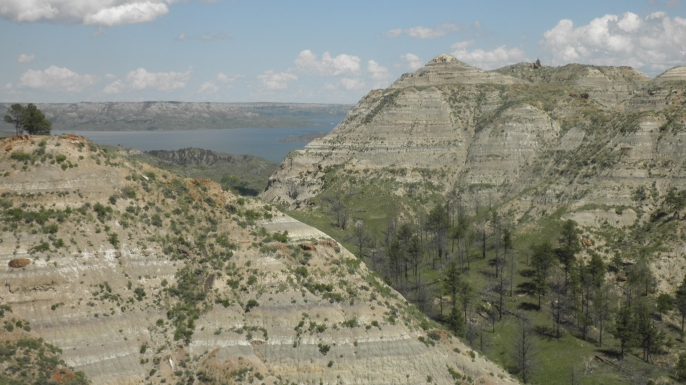 A fossilized skeleton representing a new elasmosaur species was found in these hills near the Fort Peck Reservoir, seen in the distance, on the Charles M. Russell National Wildlife Refuge in eastern Montana. (Credit: Beverly Skinner)