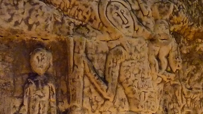 Close-up of the St. Christopher carving. (Credit: Royston & District Local History Society)