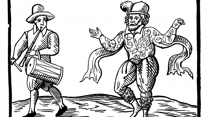 English Elizabethan clown Will Kempe dancing a jig from Norwich to London in 1600. (Credit: Public Domain)