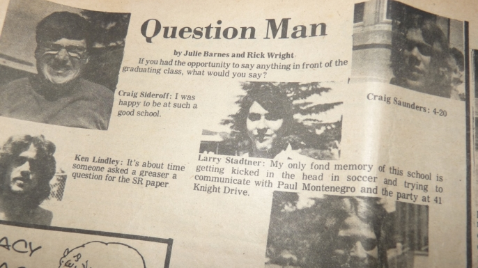 A copy of the San Rafael High School newspaper with a 420 reference. (Credit: Carly Schwartz)