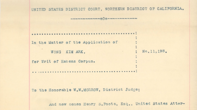 Statement in Opposition to the Application for the Writ of Habeas Corpus of Wong Kim Ark. (Credit: National Archives)