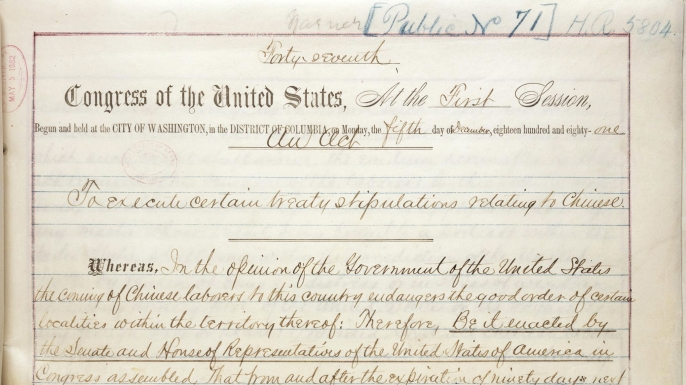 First page of the US Chinese Exclusion Act. (Credit: Public Domain)