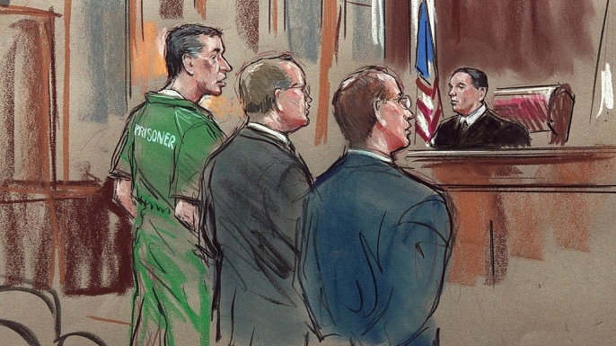 An artist's drawing shows alleged US spy Robert Hanssen during Hanssen's arraignment on spying charges.