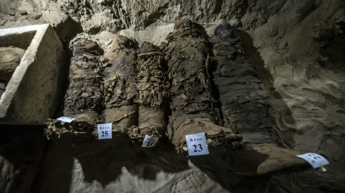 Mummies lying in catacombs following their discovery in the Touna el-Gabal district of the Minya province.