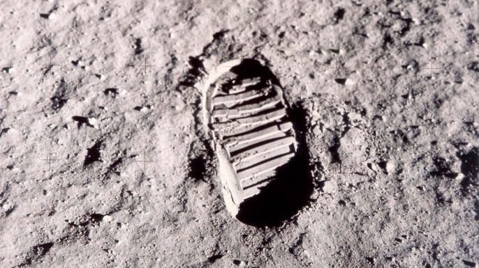 A footprint left on the surface of the moon by one of the Apollo 11 astronauts during their historic lunar EVA, July 1969. (Credit: Space Frontiers/Getty Images)