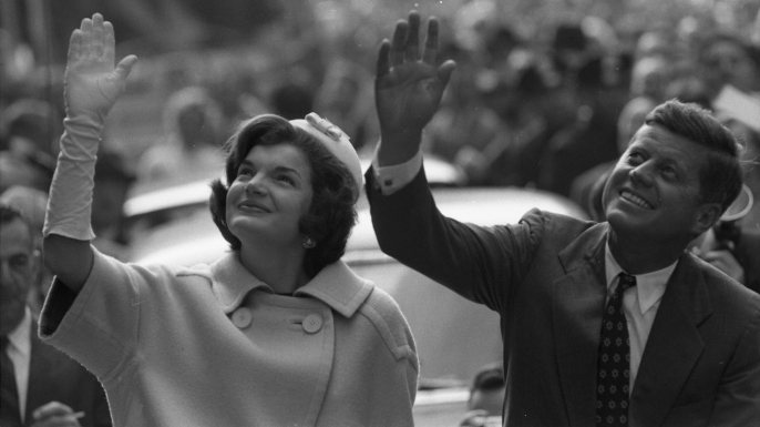 Jacqueline and John F. Kennedy during a 1960 campaign stop. (Credit: Paul Schutzer/The LIFE Picture Collection/Getty Images)