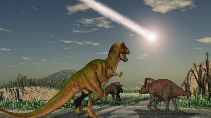 Artist recreation of the asteroid that wiped out the dinosaurs