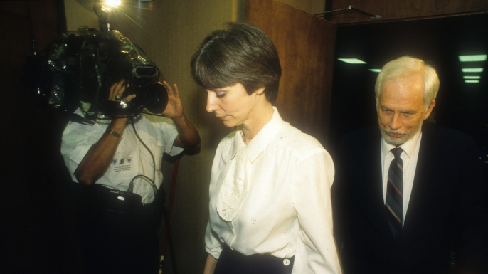 Frances 'Fran' and Daniel Keller leave the courtroom following testimony in their sexual assault trial in 1992. They are accused of sexually assaulting three children at the day care center they used to operate.  (Credit: Larry Kolvoord/Austin American Statesman/AP Image )