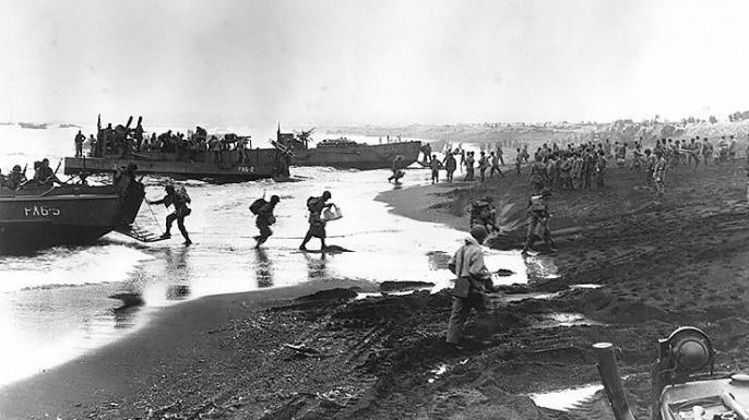 U.S. troops landing on Attu in May 1943