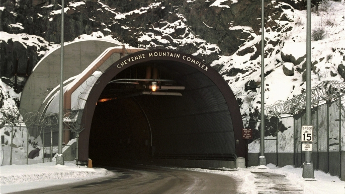 Tunnel gateway into Cheyenne Mountain (NORAD) near Colorado Springs. (Credit: Ulrich Baumgarten via Getty Images)