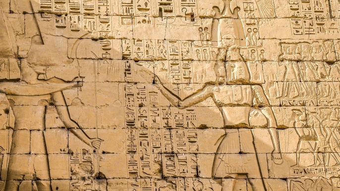 A series of reliefs depicting Ramesses III's defeat of the Sea Peoples.