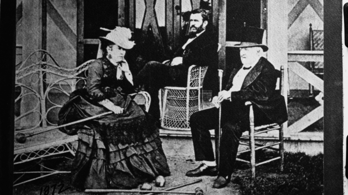 General Ulysses S. Grant and his wife sit with General Dent on a porch in Long Branch, New Jersey. 1872. (Credit: Oscar White/Corbis/VCG/Getty Images)