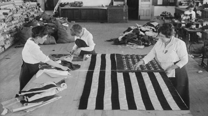 Women making American flags at the Brooklyn Navy Yard, 1917.