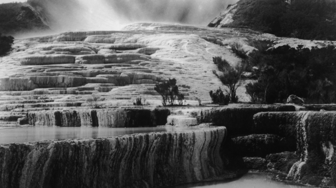 The Pink and White Terraces at Lake Rotomahana, circa 1880.