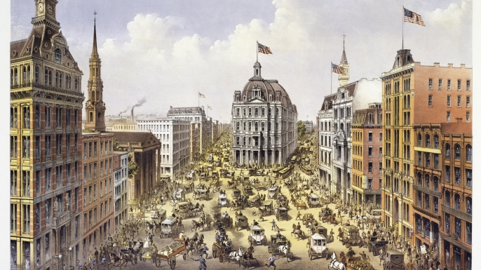 Illustration of crowded Broadway in the 1800s