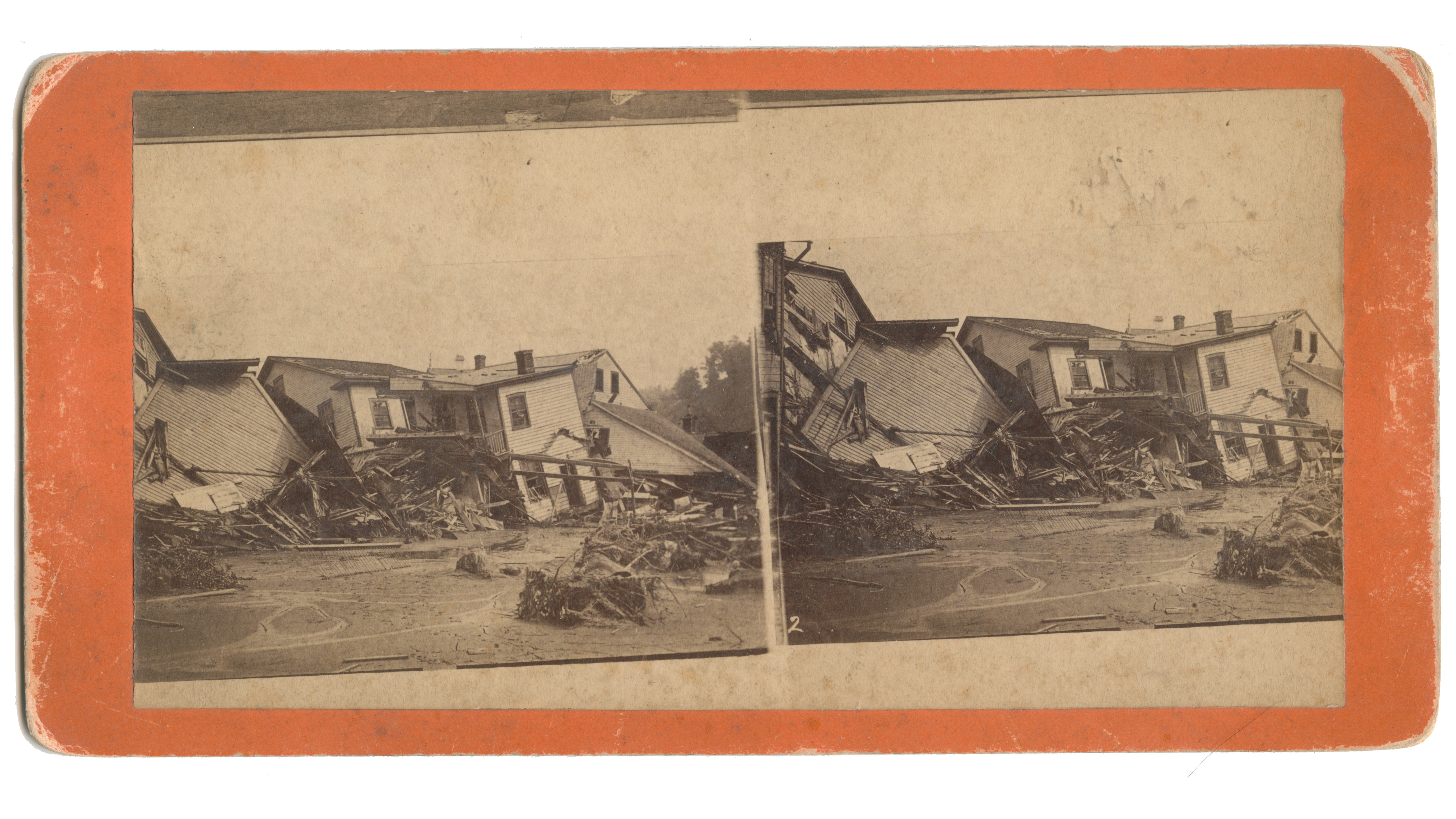 Stereoscopic View Showing Debris Collapsed Houses And The General Disastrous Condition Of Main Street