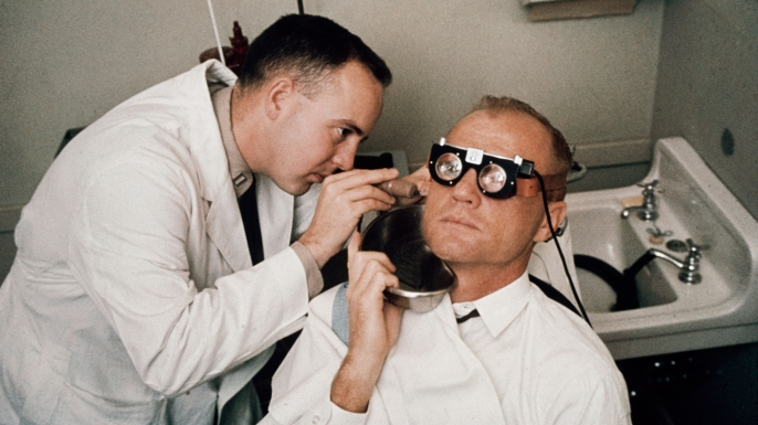 John Glenn undergoing testing in February 1962.