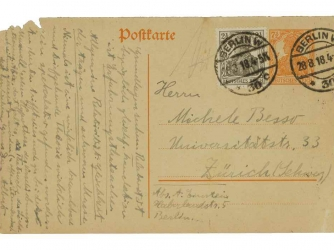 Autograph correspondence card signed ('Albert') to Michele Besso, [postmarked Berlin, 28 August 1918]. (Credit: Christie's Auction House)