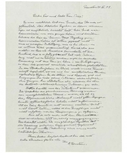 Autograph letter signed ('A. Einstein') to Michele Besso's son, Vero, and sister, Bice Rusconi ('Lieber Vero und liebe Frau Bice'), Princeton, 21 March 1955. (Credit: Christie's Auction House)