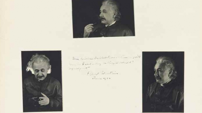 Five photographs signed ('Albert Einstein') and inscribed, February 1936. (Credit: Christie's Auction House)