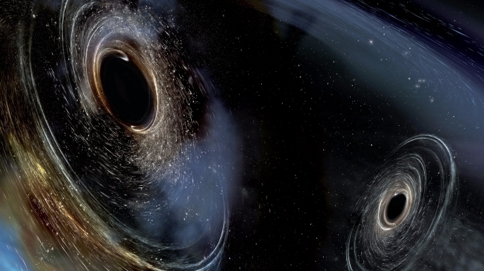 Artist's conception shows two merging black holes similar to those detected by LIGO. (Credit: LIGO/Caltech/MIT/Sonoma State (Aurore Simonnet))