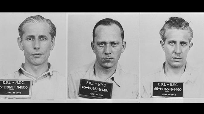 Mugshots of saboteurs George John Dasch, Geinrich Harm Heinck and Richard Quirin.