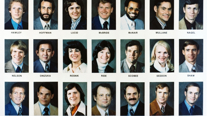 Some of the members of NASA's Astronaut Group 8, including Ellison Onizuka, Judith Resnik, Sally Ride and Dick Scobee. Onizuka, Resnick and Scobee would later die in the Challenger disaster.