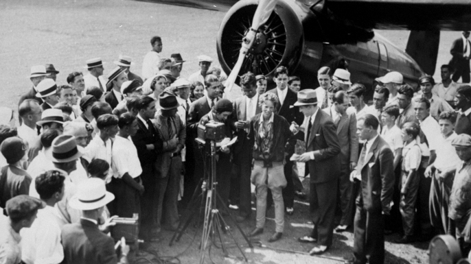 Amelia Earhart as she arrived at Newark Airport after setting the record for non-stop flight for women.  (Credit: Joe Petrella/NY Daily News Archive via Getty Images)