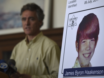 Cook County Sheriff Tom Dart speaks at a news conference in Chicago, Wednesday, July 19, 2017, where he announced the identity of James Byron Haakenson, of Minnesota, as one of the victims of serial killer John Wayne Gacy. The teenager had left his home in 1976 and was last heard from in August of that year when he called his mother and told her he was in Chicago. (Credit: AP Photo/G-Jun Yam)