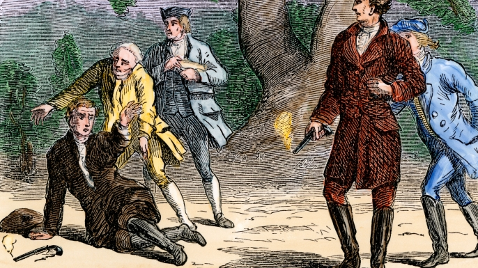 Andrew Jackson winning a pistol duel against Charles Dickinson. (Credit: North Wind Picture Archives/Alamy Stock Photo)