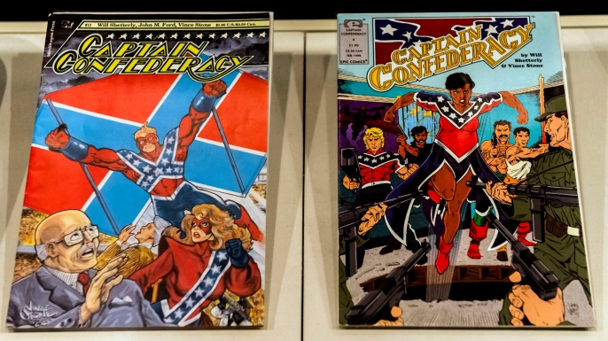 A display of ''Captain Confederacy'' comic books at the Museum of the Confederacy. (Credit: Brian Cahn/ZUMA Press/Alamy Stock Photos)