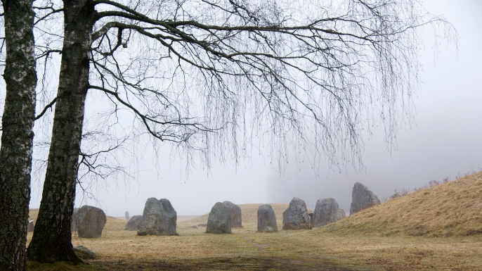 View of Viking burial site Anundshog, in Vasteras, Sweden. (Credit: Rose-Marie Murray/Alamy Stock Photo)