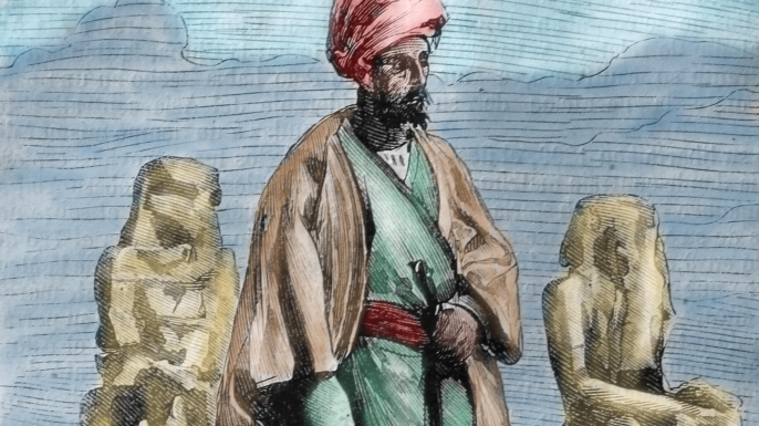 Ibn Battuta, Moroccan explorer, in Egypt. Illustration by Leon Benett from book by Jules Verne, 1878. (Credit: Lanmas/Alamy Stock Photo)