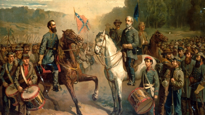 Confederate Army Generals Stonewall Jackson and Robert E Lee. (Credit: MPI/Getty Images)