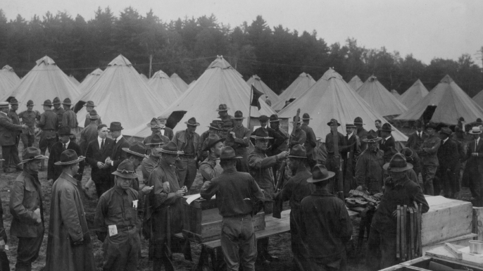 A U.S. military encampment and supplies at Plattsburg, New York during World War I. (Credit: Paul Thompson/FPG/Getty Images)